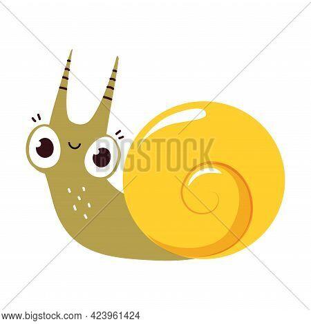 Cute Funny Snail, Lovely Gastropod Creature Cartoon Vector Illustration