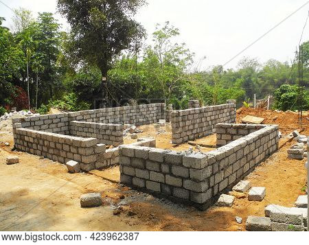 Building A House From Concrete Blocks. India, Kerala, Cochin