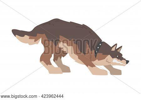 Furious Aggressive Brown Dog Baring Its Teeth Vector Illustration