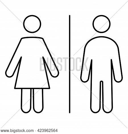 Restroom Icons. Man And Woman Symbol. Male, Female Toilet Sign. Wc Line Icons. Editable Stroke. Vect