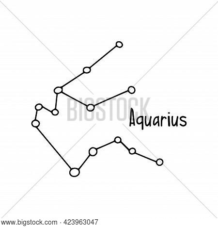 Aquarius Constellation. Black And White Vector Doodle Illustration Isolated. Space Of The Universe,