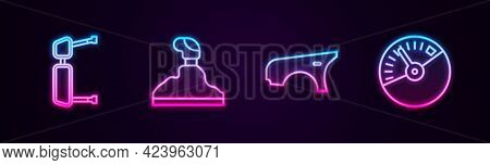 Set Line Truck Side Mirror, Gear Shifter, Car Fender And Speedometer. Glowing Neon Icon. Vector