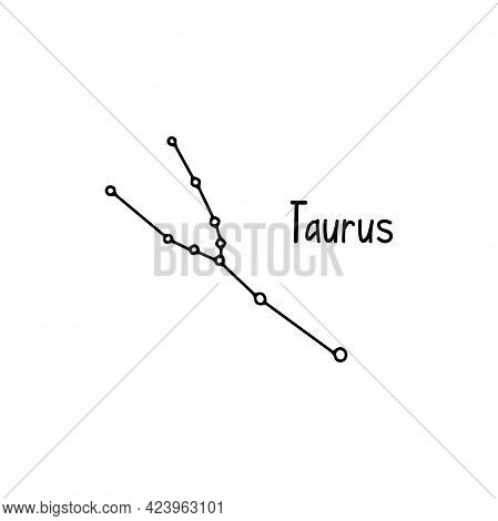 Constellation Taurus. Black And White Vector Doodle Illustration Isolated. Space Of The Universe, As