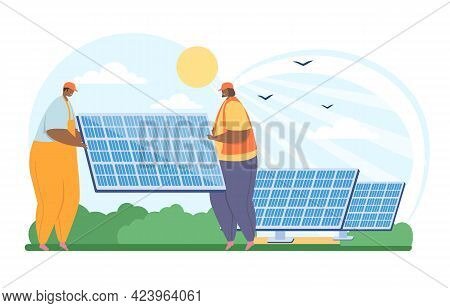 Eco-friendly Lifestyle And Sustainability. Solar Cell Team Constructor Service, Set Or Install Solar