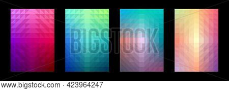 Geometric Abstract Background. A Set Of Colorful Patterns. Gradient Triangle Square. Template Design