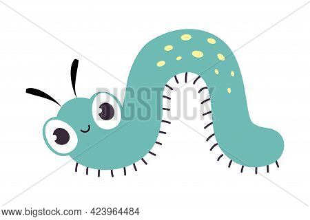 Cute Funny Caterpillar Insect, Lovely Colorful Creature Cartoon Vector Illustration