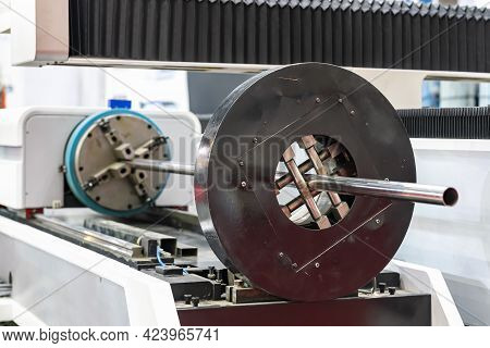 Rotary Pipe Or Tube Support Set Of Cnc Laser Or Plasma Cutting Machine In Manufacturing Process In I