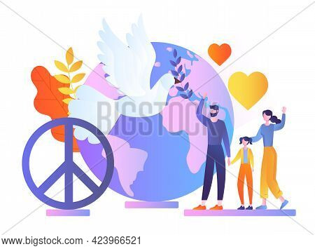 Family Celebrate Special World Peace Day, Waving Hands, International Social Help And Culture Unity.