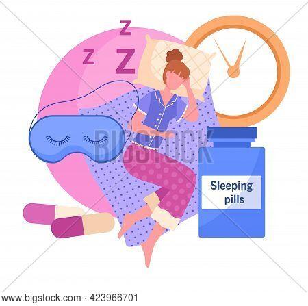 Woman Take Sleeping Pills To Have Sound Sleep. Sleep Disturbance, Exhausted Character Suffers From I