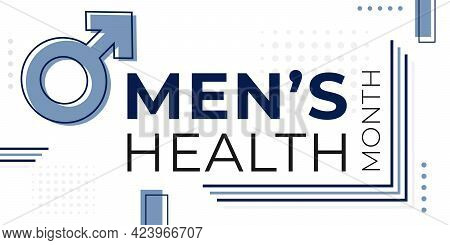 National Men Health Awareness Month Banner Template With Mars Sign And Geometric Backdrop. Annual Ce