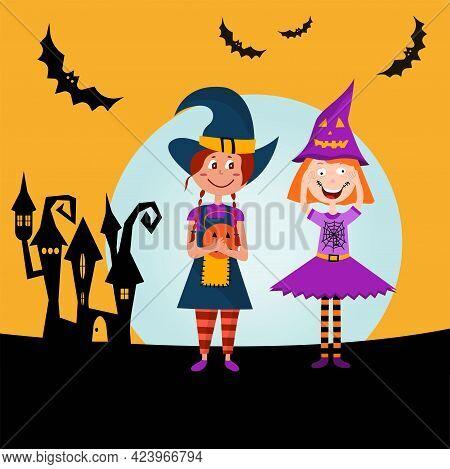 Happy Halloween. Children Trick Or Treating In Halloween Costume. Horror Night Poster. Vector Cartoo