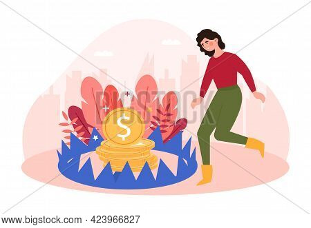 Smiling Female Character Is Running To Catch The Coin In Iron Trap. Young Woman Risks To Lose Her Mo