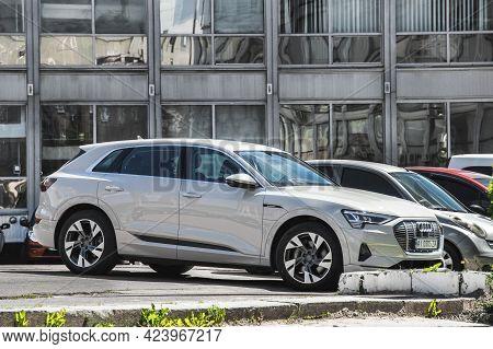 Kiev, Ukraine - May 22, 2021: Audi E-tron. Gray Electric Audi E-tron Car Parked In The City
