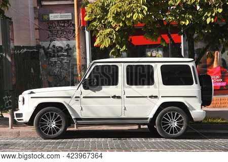 Kiev, Ukraine - May 22, 2021: German Suv Mercedes-benz G500 V8 Parked In The City