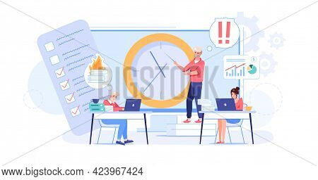 Vector Cartoon Flat Employees Characters At Work Deadline Scene.employee Office Workers In Hurry, Tr