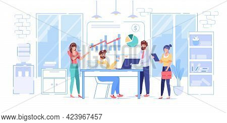 Vector Cartoon Flat Office Workers Characters Performs Work Tasks.successful Employees Business Team