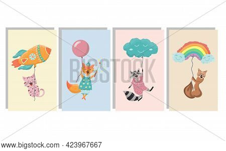 Cute Posters For Children. Animals Fly In Balloons Cards For Kids Design. Joyful Pets Characters Fli