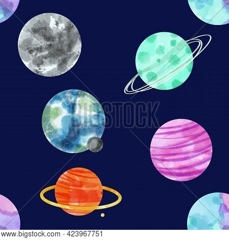 Watercolor Seamless Pattern Space Planets. Watercolor Space, Cosmos, Retro Planets. Comets, Moon, St