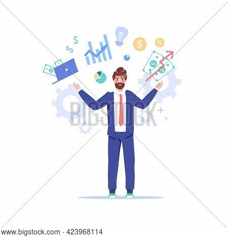 Vector Cartoon Flat Office Worker Character Performs Work Tasks.successful Employee Controls Everyth
