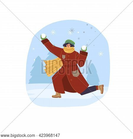 Vector Flat Cartoon Character In Winter Season Outdoor Playing Snowballs - Fashion, Emotions, Health