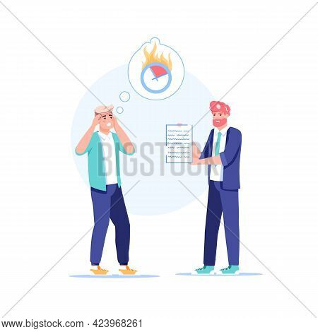Vector Cartoon Flat Boss Manager, Office Worker Characters In Work Conflict Scene.angry Boss Unhappy