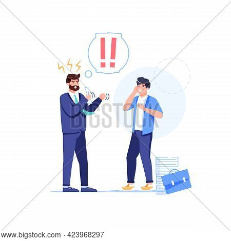 Vector Cartoon Flat Boss Manager, Office Worker Characters In Work Conflict Scene.angry Boss Shout A