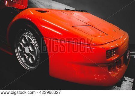 Kiev, Ukraine - May 22, 2021: Red Luxury Supercar Lamborghini Diablo Koenig. Exclusive Red Supercar
