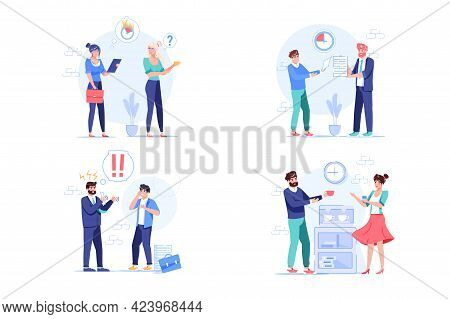 Set Of Vector Cartoon Flat Employees Characters At Work Scenes.employees Office Workers In Deadline