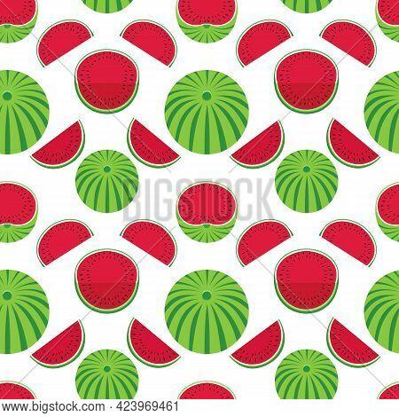 Watermelons Geometric Vector Pattern Seamless Pattern Background. Watermelon Fruit Slice Cartoon Des