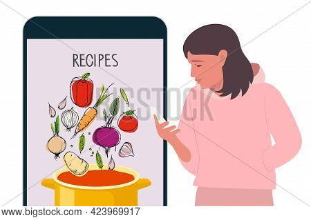 Girl Looks At Smartphone, Reads Soup Recipes. Flat Vector. Vegetables Fall Into Saucepan For Cooking