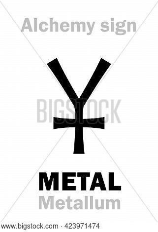 Alchemy Alphabet: Metal (metallum -- Mine, Quarry, Metal), Solid, Hard, Shiny, Malleable, Fusible, D