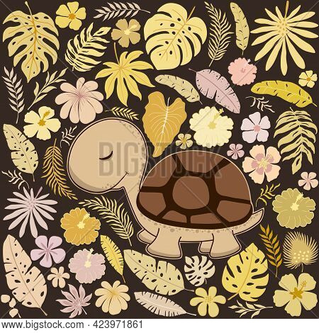 Decorative Pattern With Cute Turtle And Tropical Leaves And Flowers