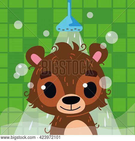 The Bear Bathes In The Bathroom Under The Shower. Head Of A Happy Bear Cub. Vector Illustration In C