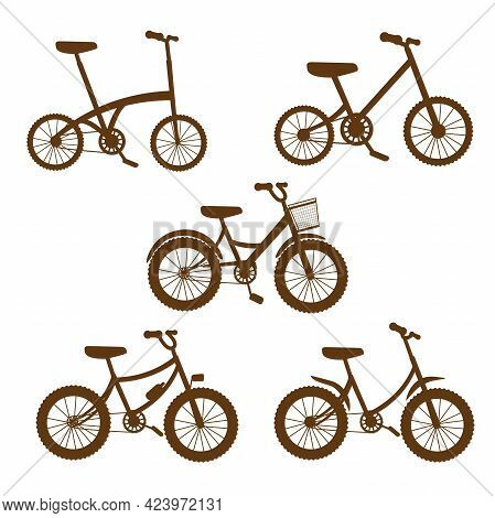 Vector Illustration Set Of Bicycles Silhoutte, Bikes, Wheels, Transportation Type.