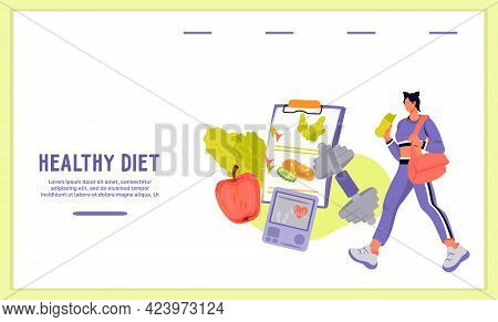 Website Banner On Healthy Diet And Weight Loss For Nutritionists, Flat Vector.