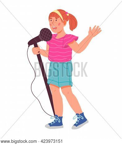 Child Girl Cartoon Character Singing With Microphone, Flat Vector Isolated.