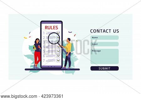 People Studying List Of Rules, Making Checklist, Reading Guidance. Contact Us Form. Vector Illustrat