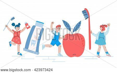 Children Dental Care And Pediatric Dentistry With Cute Kids, , Cartoon Vector Illustration.