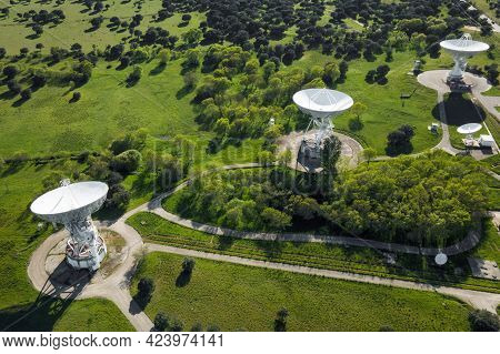Aerial View Of Large Telecommunications Antenna Or Radio Telescope Satellite Dish. High Quality Phot