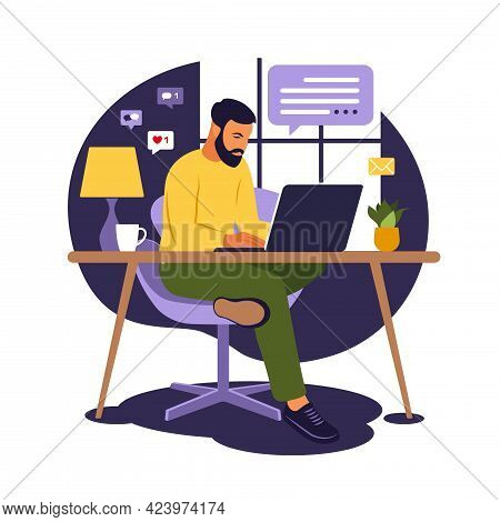 Home Office Concept, Man Working From Home. Student Or Freelancer. Freelance Or Studying Concept. Ve