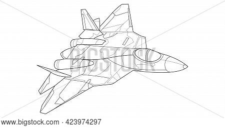Adult Military Aircraft Coloring Page For Book. Vector . Black Contour Sketch Illustrate Isolated On