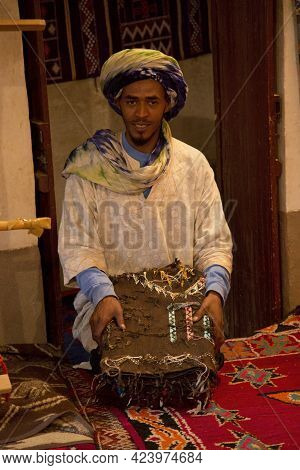 Ait-ben Haddou, Morocco. 01 October 2017. Carpet Trade  In Kasbah Ait Ben Haddou  In The Atlas Mount