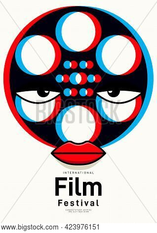 Movie And Film Poster Design Template Background With Transparent Film Reel. Can Be Used For Backdro