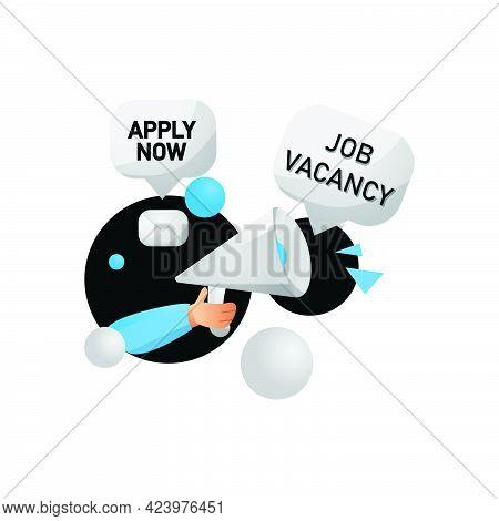 Creative Illustration Job Vacancy Design Isolated On White Background