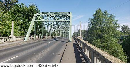 Albany Bridge Over The Willamette River Leading To Corvallis