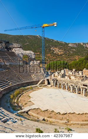 Ancient Amphitheater And Construction Crane In Ephesus