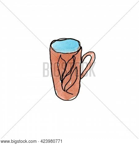 A Mug Isolated On A White Background. Kitchenware, Cooking Utensils. Single Line. The Illustration I
