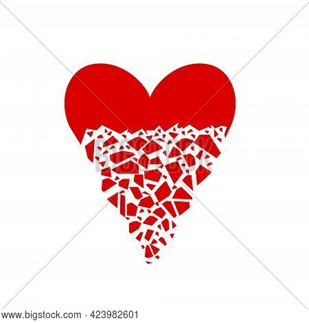 The Red Heart Shatters Into Pieces. Vector Illustration