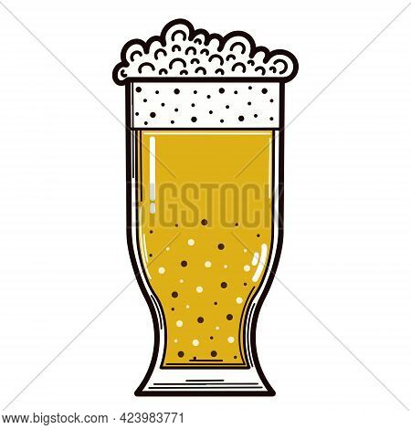 A Glass Of Beer. Vector Icon. Isolated Illustration On A White Background. Cold Drink With Foam. Alc