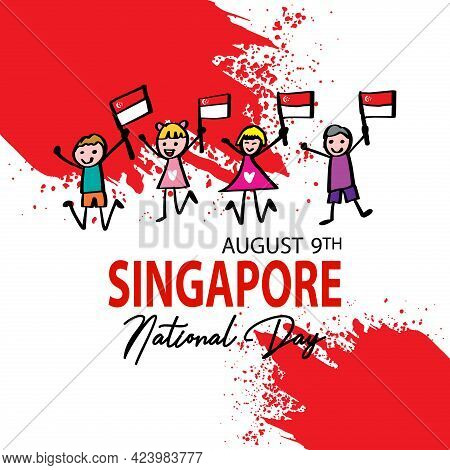 Cartoon Cute Boy And Girl Holding National Singapore Flag. August 9th Singapore`s Independence Day.